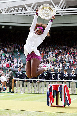 Serena Williams is esctatic after beating Agnieszka Radwanska to win the Wimbledon Championships on Saturday