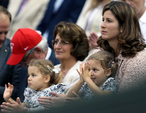 (Left to right): Roger Federer's dad Robert, mom Lynette, wife Miroslava Vavrinec with their twin daughters Myla Rose and Charlene Riva