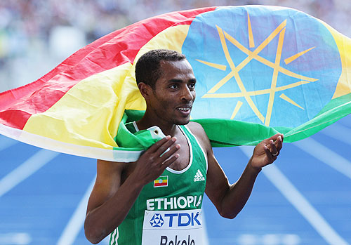 Kenenisa Bekele of Ethiopia celebrates
