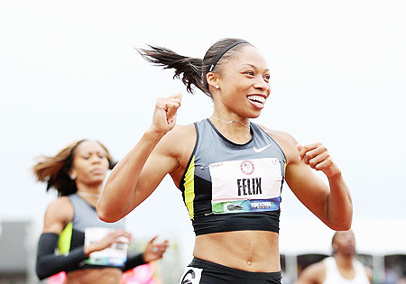 Allyson Felix celebrates