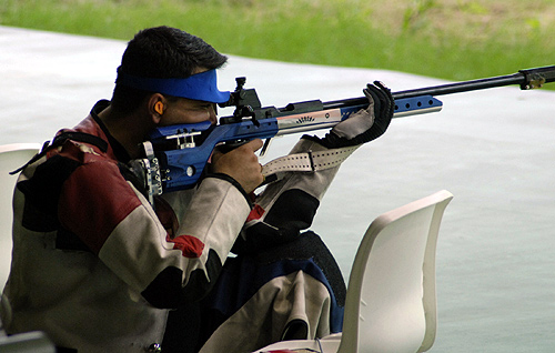 Gagan Narang of India at Dr. Karni Singh Shooting Range