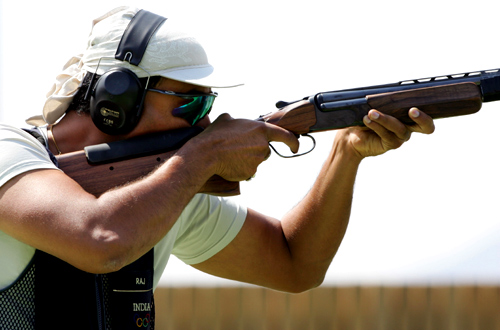 India's Rajyavardhan S. Rathore competes in the men's double trap final of the Athens 2004 Olympic Games