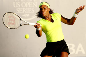 Serena Williams returns a shot to Chanelle Scheepers of South Africa on Friday