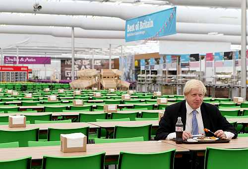 Mayor of London Boris Johnson visits the Olympic Park and Olympic Village