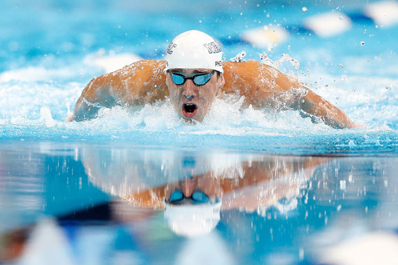 Michael Phelps competes in the U.S. Olympic Swimming Team Trials in Omaha, Nebraska