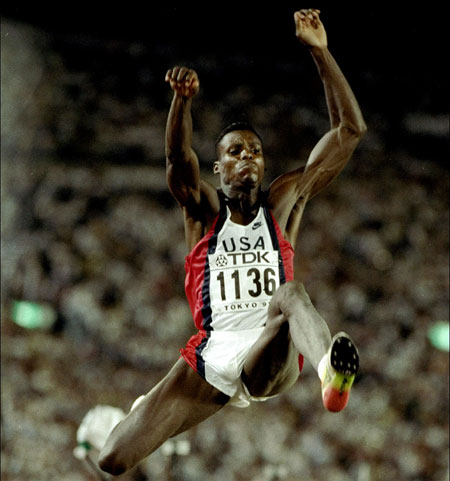 Carl Lewis of the USA in action during the Long Jump event of the World Championships at the Olympic Stadium in Tokyo