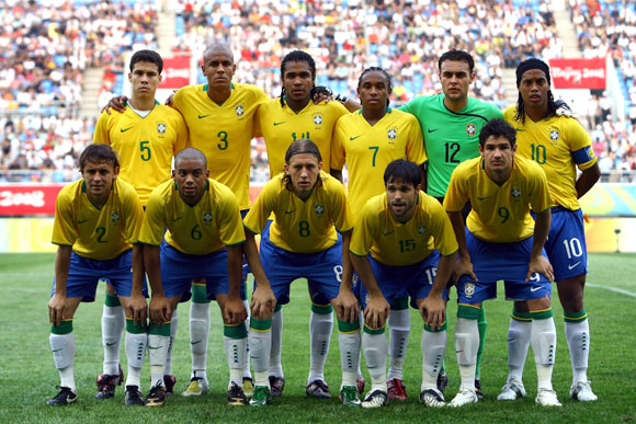 The Brazilian team lines up before the men's preliminary group C match between Brazil and Belgium at Shenyang Stadium on Day -1 of the Beijing 2008 Olympic Games