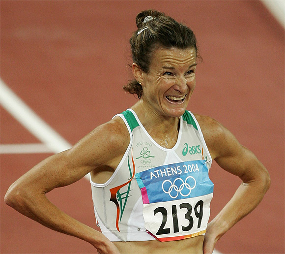 Sonia O'Sullivan of Ireland is seen after the women's 5000 metre event on August 20, 2004 during the Athens 2004 Summer Olympic Games