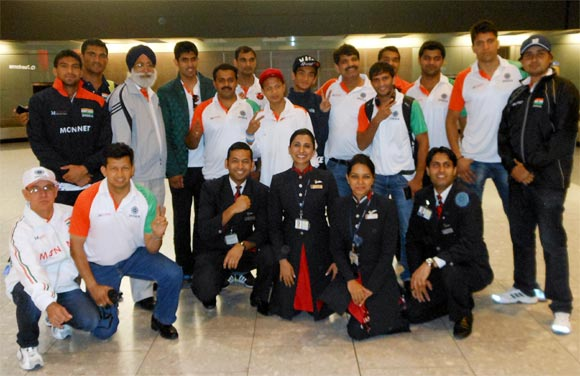 The Indian boxing team on their arrival at the Heathrow airport in