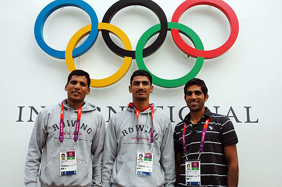 Indian rowing team members (from left) Sandeep Kumar, Swaran Singh, Manjit Singh at the Games Village