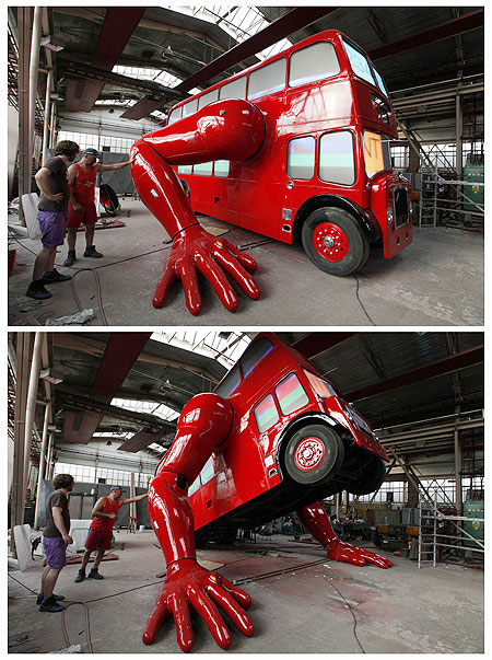 A combination picture shows a robot made from a London bus doing press-ups in Prague
