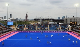 The blue tuerf that will be used at the London Olympics hockey tournament