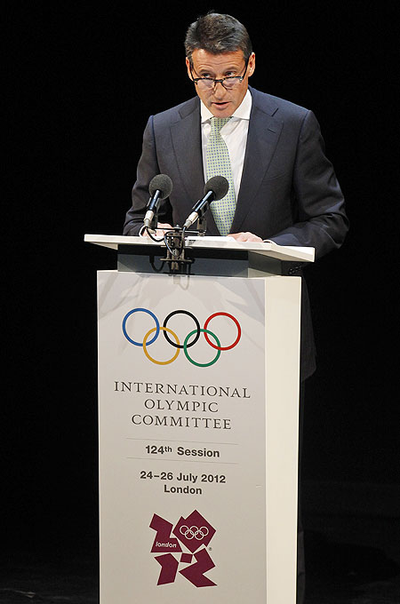 Sebastian Coe, chairman of the London Organising Committee of the Olympic Games and Paralympic Games delivers a speech during the Opening Ceremony of the IOC session at London's Royal Opera House on Monday