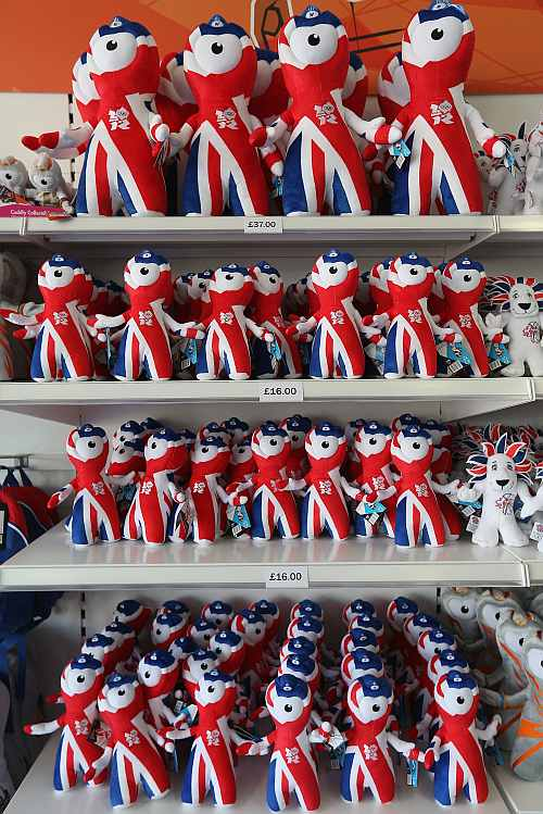 Mascot of London Olympics Games in the Olympic merchandise store at Olympic Park