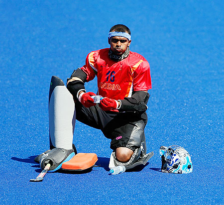 Goalie Sreejesh Parattu Raveendran of India looks on during practice