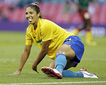 Brazil's Cristiane celebrates after scoring during the women's group E soccer match against Cameroon, at the Millennium Stadium in Cardiff, Wales on Wednesday