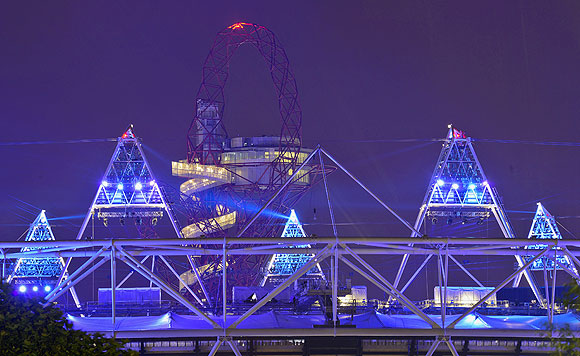 A light display is seen at the Olympic Stadium after a full dress rehearsal in London on Wednesday