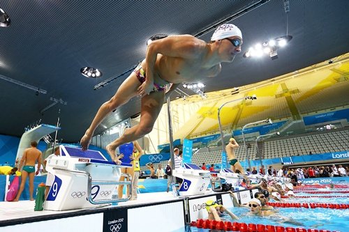 Photos: Swimmers test the waters in the Games pool
