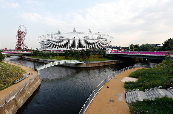 The Olympic Stadium and Mittal Orbit Tower at the Olympic Park