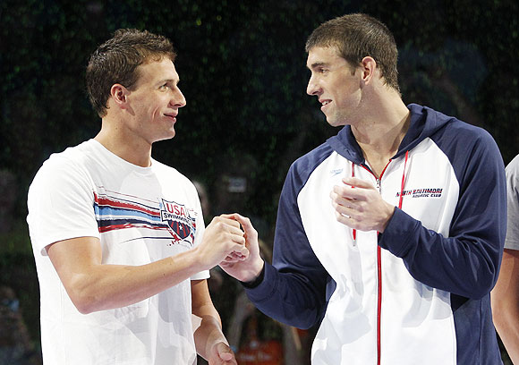 Ryan Lochte with Michael Phelps
