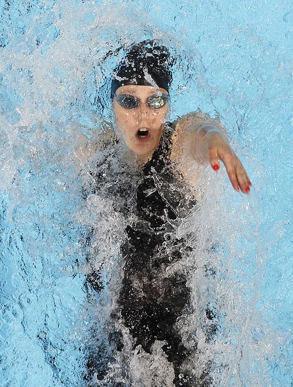 Missy Franklin swims in her women's 200m backstroke heat