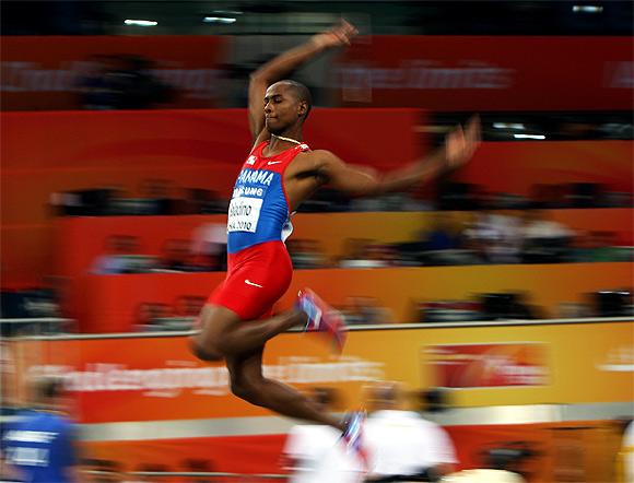 Irving Saladino of Panama competes in the Mens Long Jump Qualification