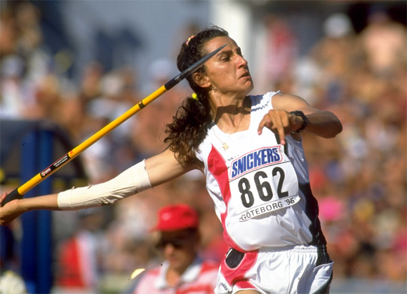 Ghada Shouaa of Syria in action during the Javelin section of the Hepathlon event