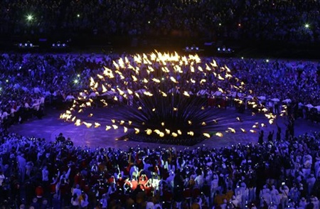 The Olympic cauldron is lit during the Opening Ceremony