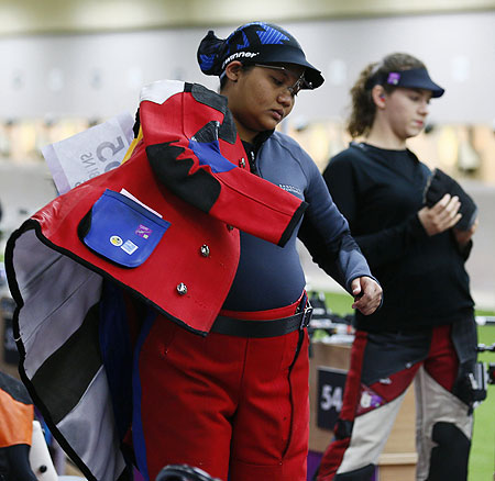 Malaysia's Nur Suryani Mohd Taibi participates in the women's 10m air rifle qualification competition at the London Games