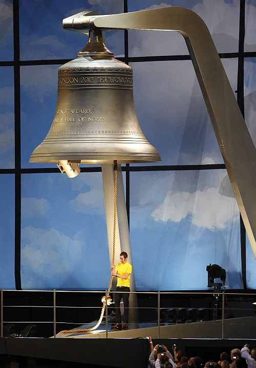 British cyclist Bradley Wiggins rings the Olympic Bell during the Opening Ceremony at the 2012 Summer Olympics