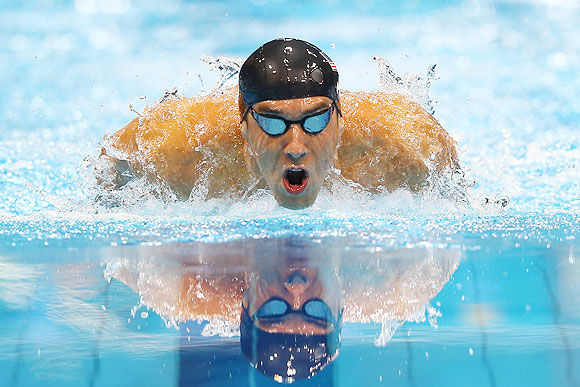 Michael Phelps of the United States competes in the final of the Men's 400m Individual Medley at the Aquatics Centre  on Saturday