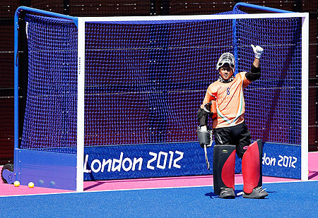 Goalie Bharat Chetri of India gestures during practice