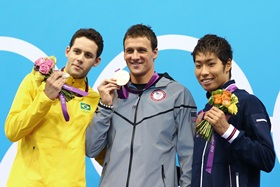 (L-R) Silver medalist Thiago Pereira of Brazil, Gold medalist Ryan Lochte of the United States and Bronze medalist Kosuke Hagino of Japan
