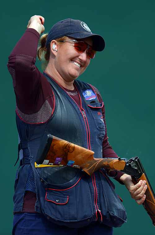 Kimberly Rhode of the United States reacts while competing in the Women's Skeet Shooting final