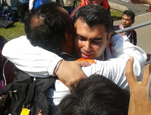 Gagan Narang get a hugh for Sportrs Minister Ajay Maken after clinching the bronze medal