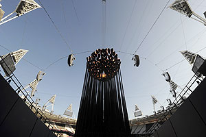 The London 2012 Olympic Cauldron sits in its new position in the Olympic Stadium in London on Monday