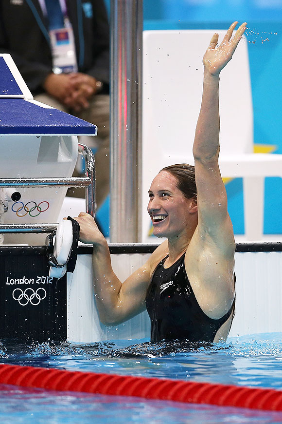 Camille Muffat of France celebrates after winning gold in the Women's 400m Freestyle final on Sunday