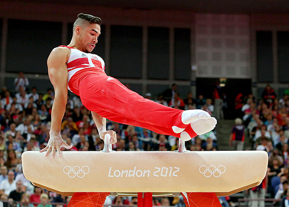 Louis Smith of Great Britain competes on the pommel horse in the Artistic Gymnastics Men