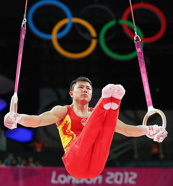 Chen Yibing of China competes on the rings in the Artistic Gymnastics Men's Team final on Monday