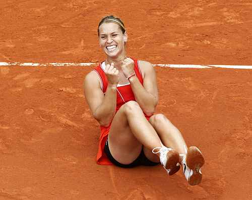 Dominika Cibulkova of Slovakia reacts after
