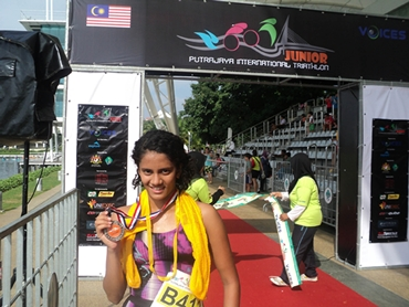 Swapnali after crossing the finish line