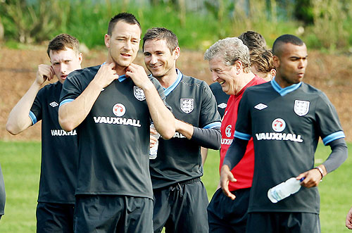 (From left) John Terry, Frank Lampard, Roy Hodgson and Ashley Cole during an England Training Session