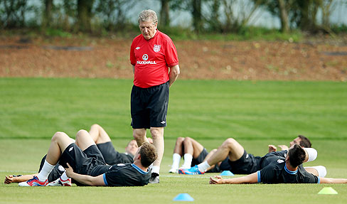 England manager Roy Hodgson during a training session