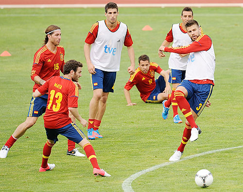 The Spain football team at a training session