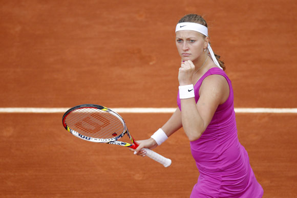 Petra Kvitova of the Czech Republic reacts during her quarter-final match against Yaroslava Shvedova of Kazakhstan