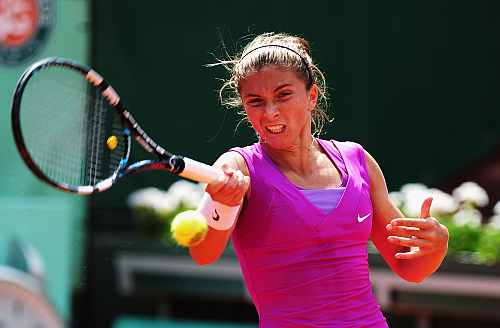Sara Errani of Italy in action in her women's singles quarter final match against Angelique Kerber of Germany
