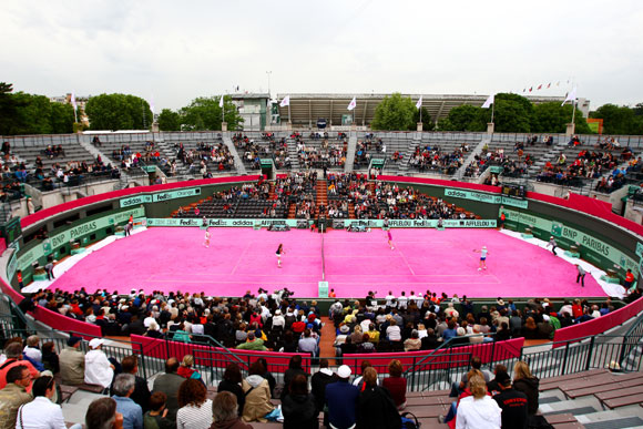 A general view of the pink clay court in the women's legends doubles semi final match between Martina Navratilova of USA and Jana Novotna of Czech Republic and Nathalie Tauziat and Sandrine Testud of France