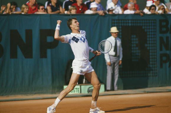 Czech Ivan Lendl celebrates winning the final of the French Open at Roland Garros in 1984. Lendl beat John McEnroe 3-6, 2-6, 6-4, 7-5, 7-5