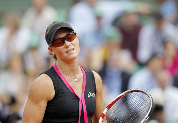 Samantha Stosur of Australia reacts during her women's semi-final match against Sara Errani of Italy at the French Open