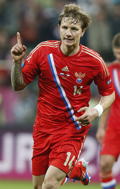 Russia's Roman Pavlyuchenko celebrates after scoring against Czech Republic